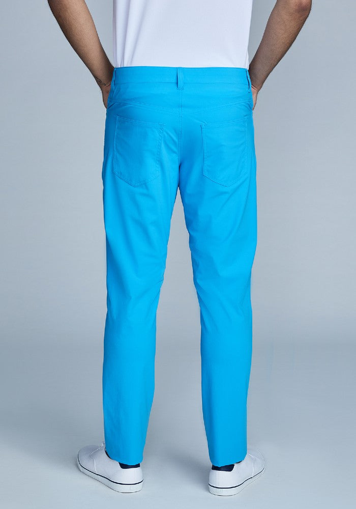 Back view of The Triton 5-Pocket Pant State Of Matter color Aqua made with ECONYLu00ae regenerated nylon