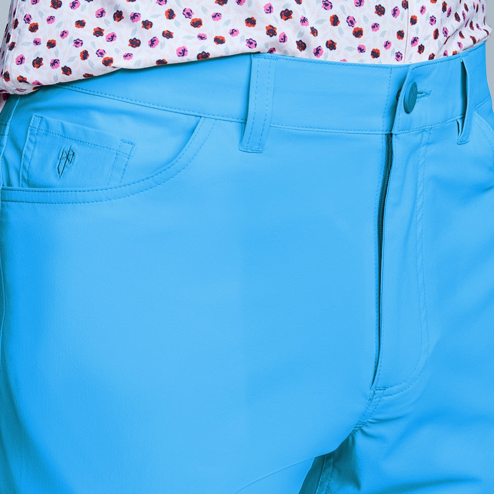 Detail of The Triton 5-Pocket Pant State Of Matter color Aqua made with ECONYLu00ae regenerated nylon