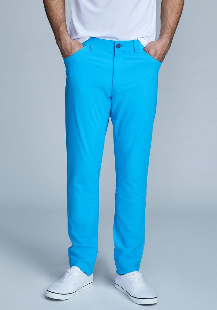 Front view of The Triton 5-Pocket Pant State Of Matter color Aqua made with ECONYLu00ae regenerated nylon