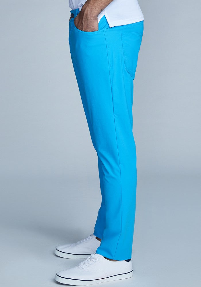 Side view of The Triton 5-Pocket Pant State Of Matter color Aqua made with ECONYLu00ae regenerated nylon