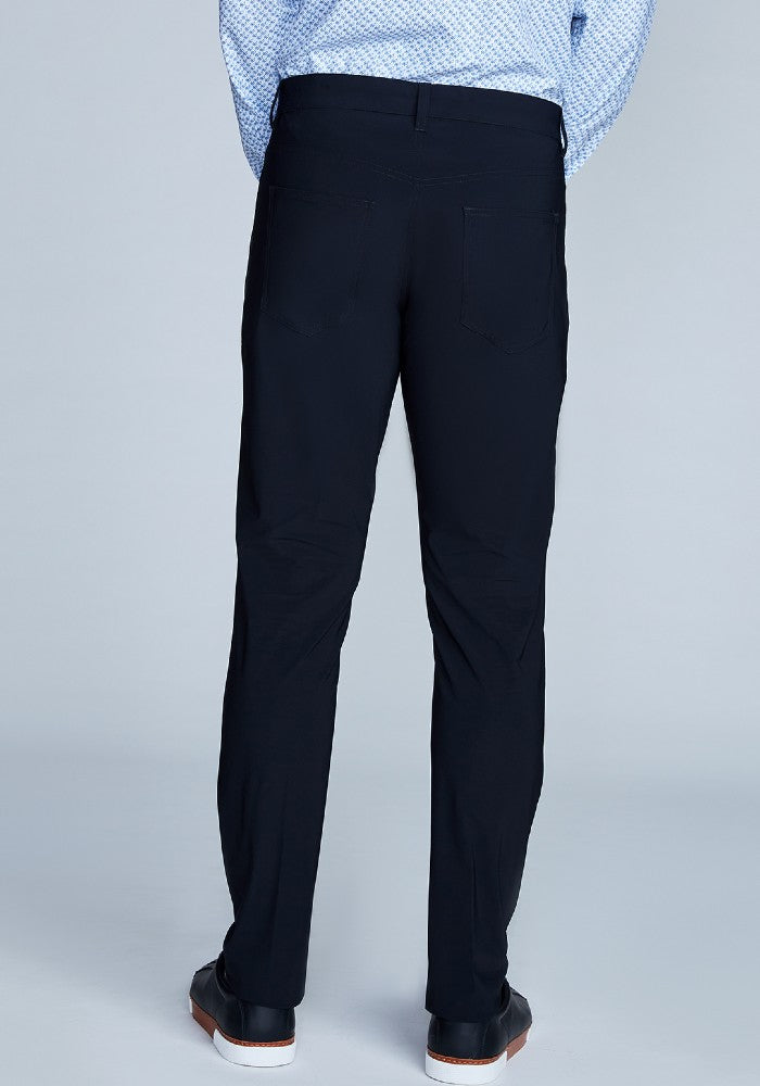 Back view of The Triton 5-Pocket Pant State Of Matter color Black made with ECONYLu00ae regenerated nylon