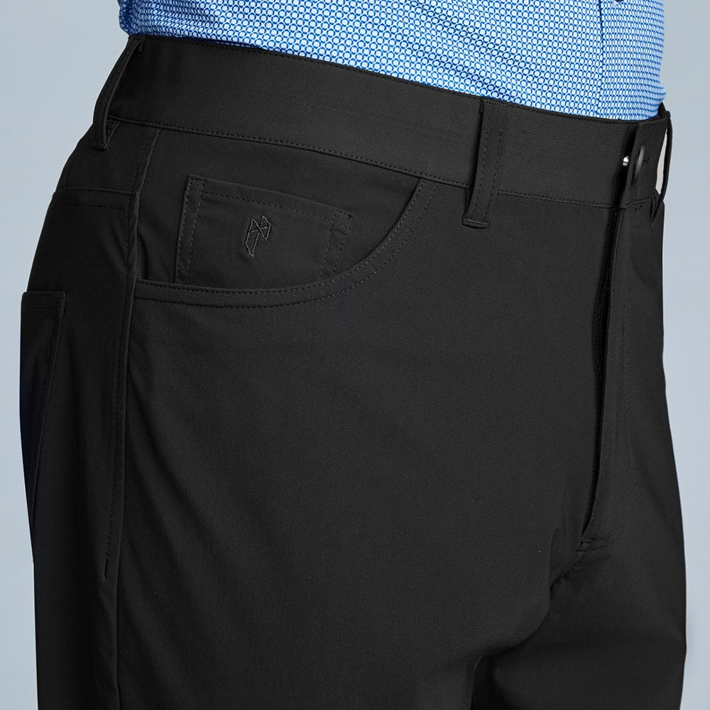 Detail of The Triton 5-Pocket Pant State Of Matter color Black made with ECONYLu00ae regenerated nylon