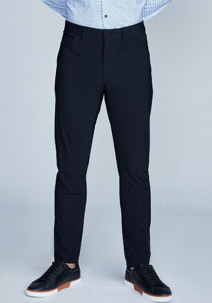 Front view of The Triton 5-Pocket Pant State Of Matter color Black made with ECONYLu00ae regenerated nylon