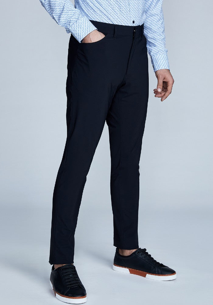 Side view of The Triton 5-Pocket Pant State Of Matter color Black made with ECONYLu00ae regenerated nylon