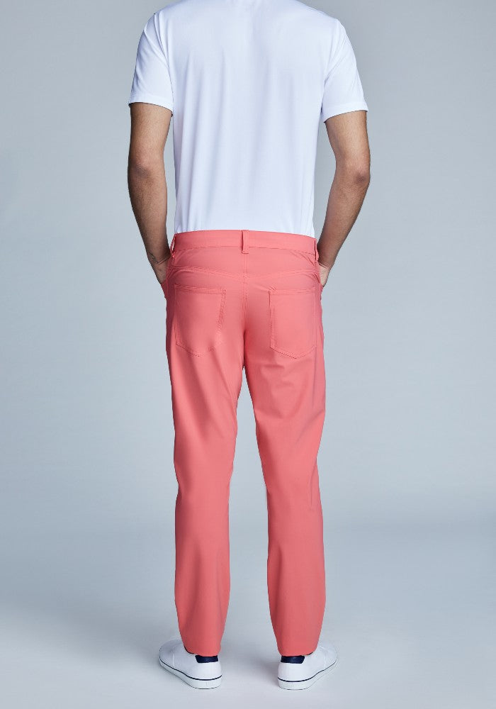 Back view of The Triton 5-Pocket Pant State Of Matter color Canyon Rose made with ECONYLu00ae regenerated nylon