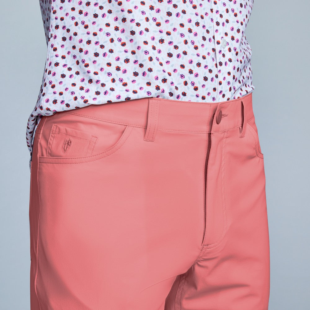 Detail of The Triton 5-Pocket Pant State Of Matter color Canyon Rose made with ECONYLu00ae regenerated nylon