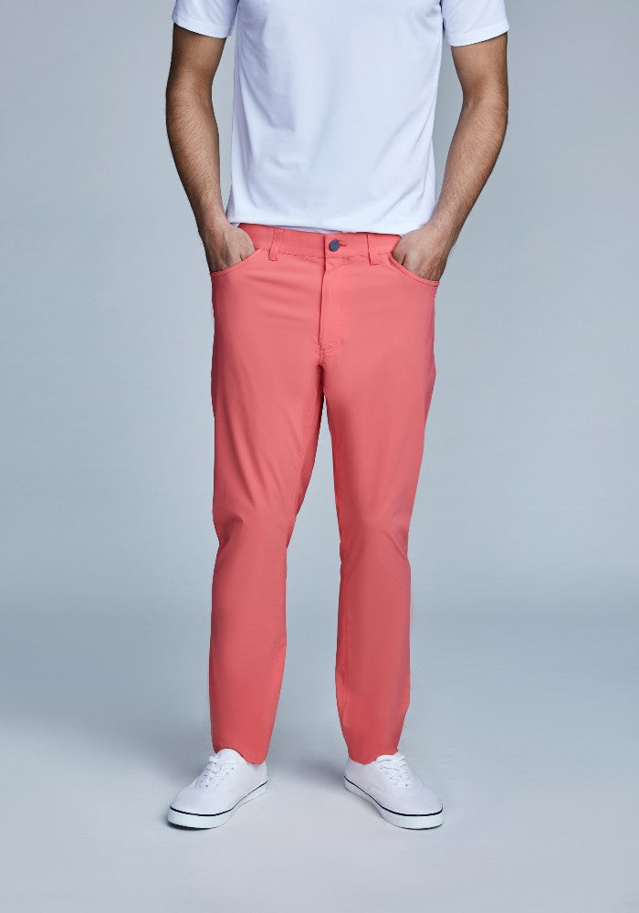 Front view of The Triton 5-Pocket Pant State Of Matter color Canyon Rose made with ECONYLu00ae regenerated nylon