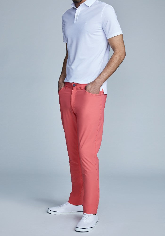 Side view of The Triton 5-Pocket Pant State Of Matter color Canyon Rose made with ECONYLu00ae regenerated nylon