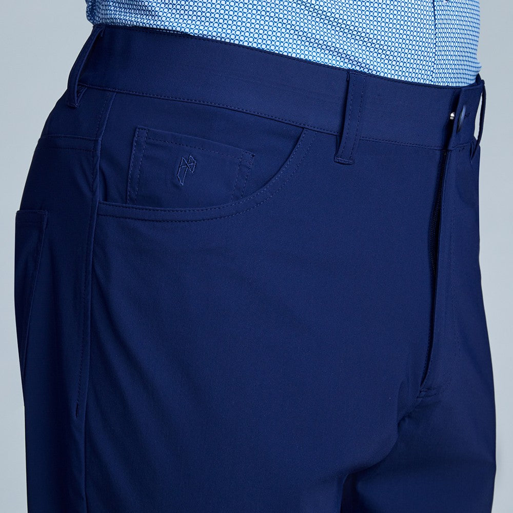 Detail of The Triton 5-Pocket Pant State Of Matter color Deep Navy made with ECONYLu00ae regenerated nylon