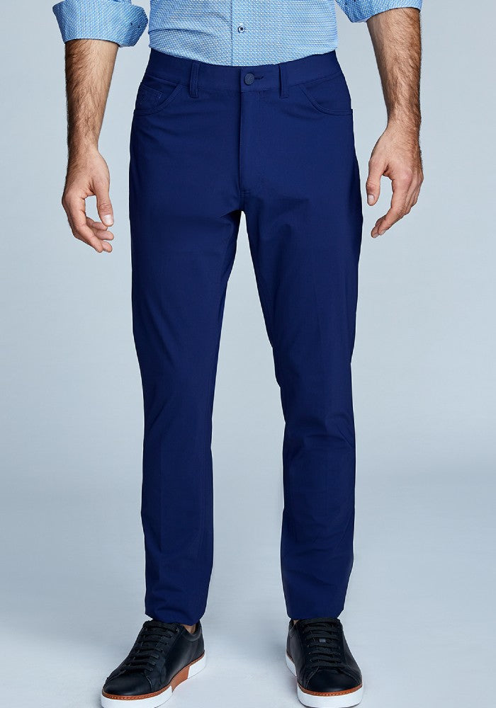 Front view of The Triton 5-Pocket Pant State Of Matter color Deep Navy made with ECONYLu00ae regenerated nylon