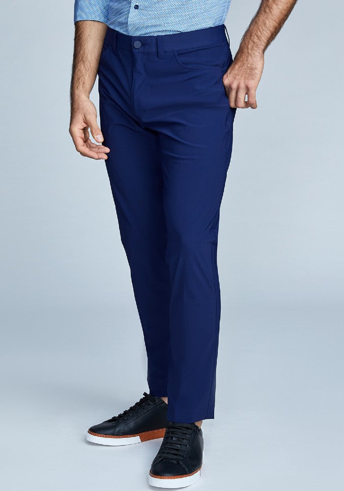 Side view of The Triton 5-Pocket Pant State Of Matter color Deep Navy made with ECONYLu00ae regenerated nylon