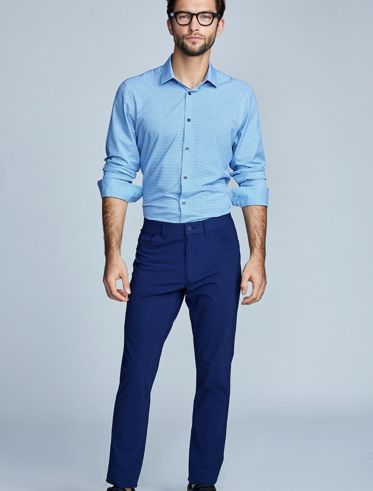 The Triton 5-Pocket Pant State Of Matter color Deep Navy made with ECONYLu00ae regenerated nylon