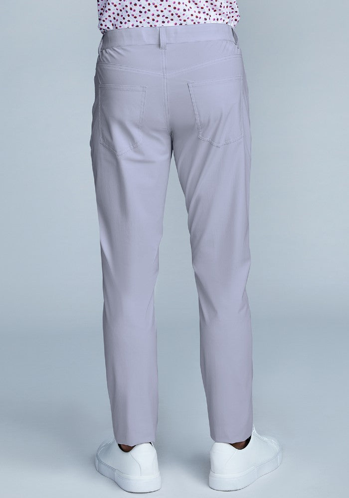 Back view of The Triton 5-Pocket Pant State Of Matter color Silver made with ECONYLu00ae regenerated nylon