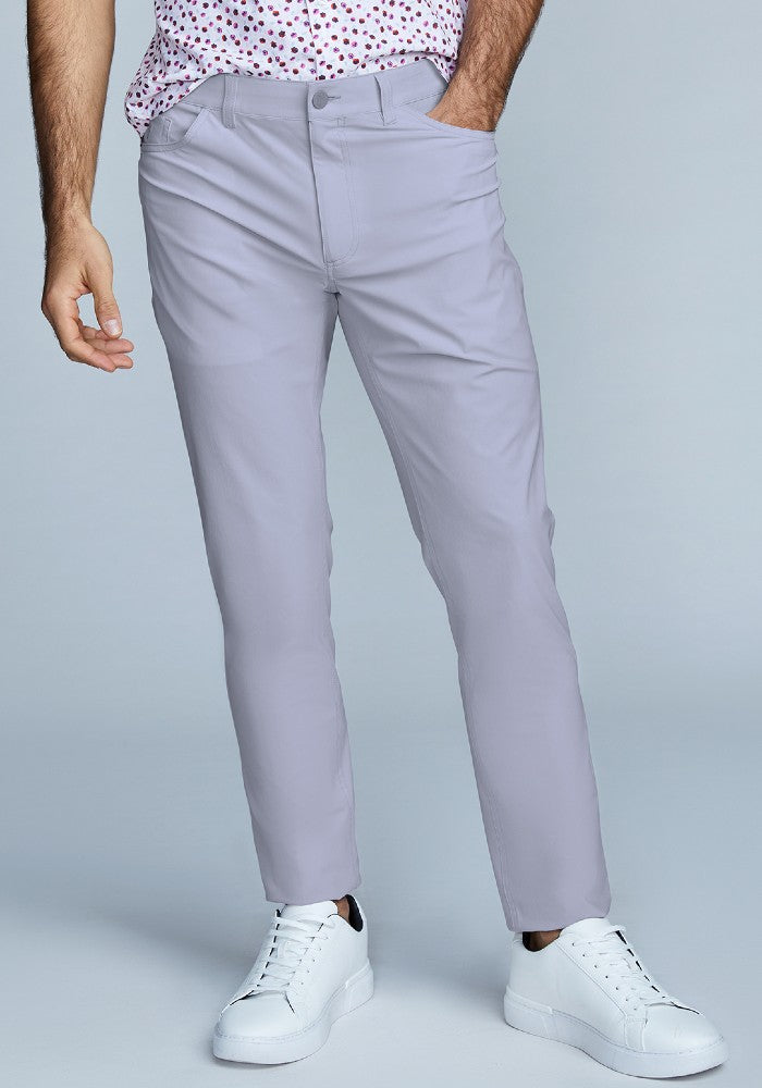 Front view of The Triton 5-Pocket Pant State Of Matter color Silver made with ECONYLu00ae regenerated nylon