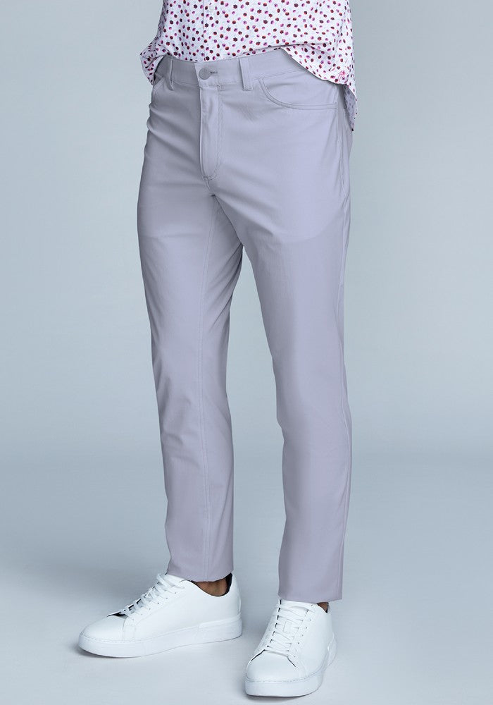 Side view of The Triton 5-Pocket Pant State Of Matter color Silver made with ECONYLu00ae regenerated nylon