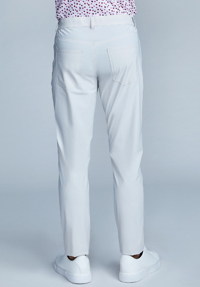 Back view of The Triton 5-Pocket Pant State Of Matter color Stone made with ECONYLu00ae regenerated nylon