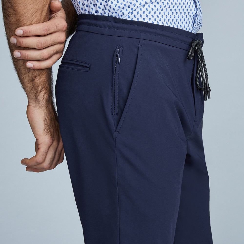 Detail of The Triton Drawstring Pant State Of Matter color Deep Navy made with ECONYLu00ae regenerated nylon