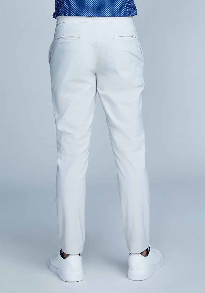 Back view of The Triton Drawstring Pant State Of Matter color Stone made with ECONYLu00ae regenerated nylon
