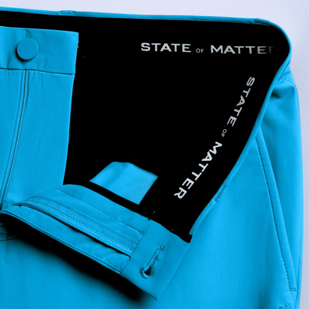 Detail of The Triton Pant State Of Matter color Aqua made with ECONYLu00ae regenerated nylon