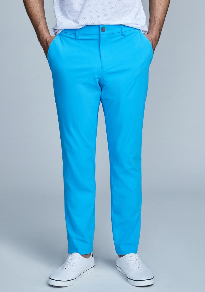 Front view of The Triton Pant State Of Matter color Aqua made with ECONYLu00ae regenerated nylon