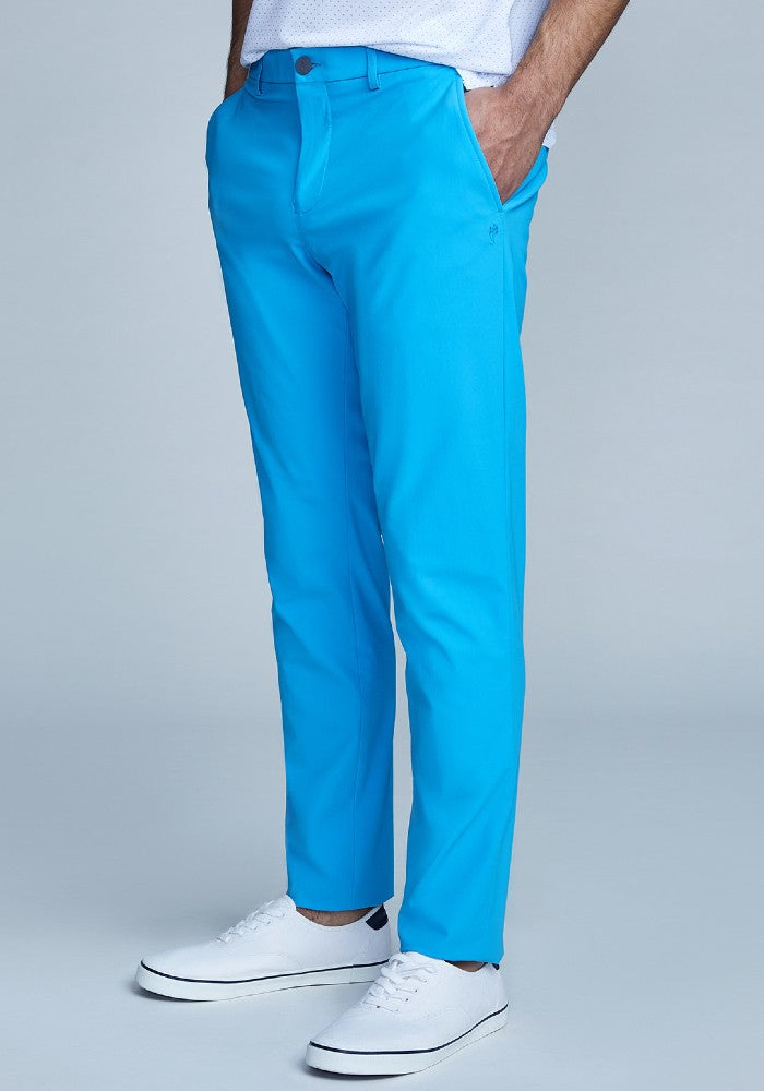 Side view of The Triton Pant State Of Matter color Aqua made with ECONYLu00ae regenerated nylon