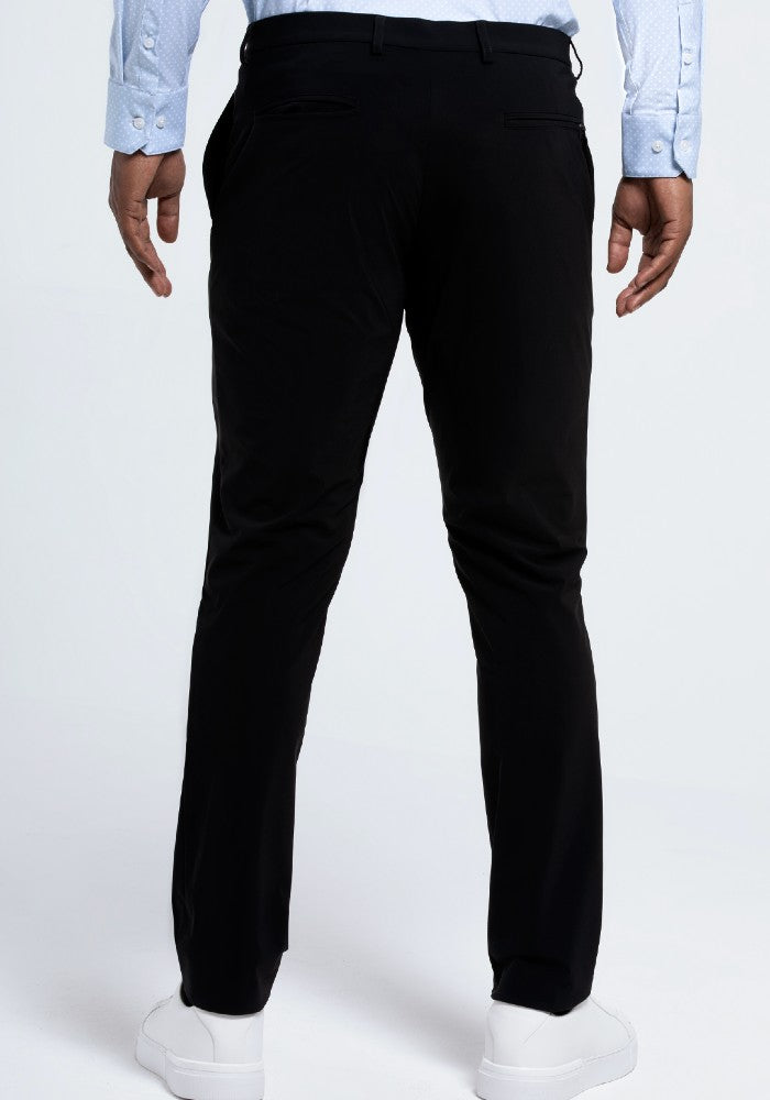 Back view of The Triton Pant State Of Matter color Black made with ECONYLu00ae regenerated nylon