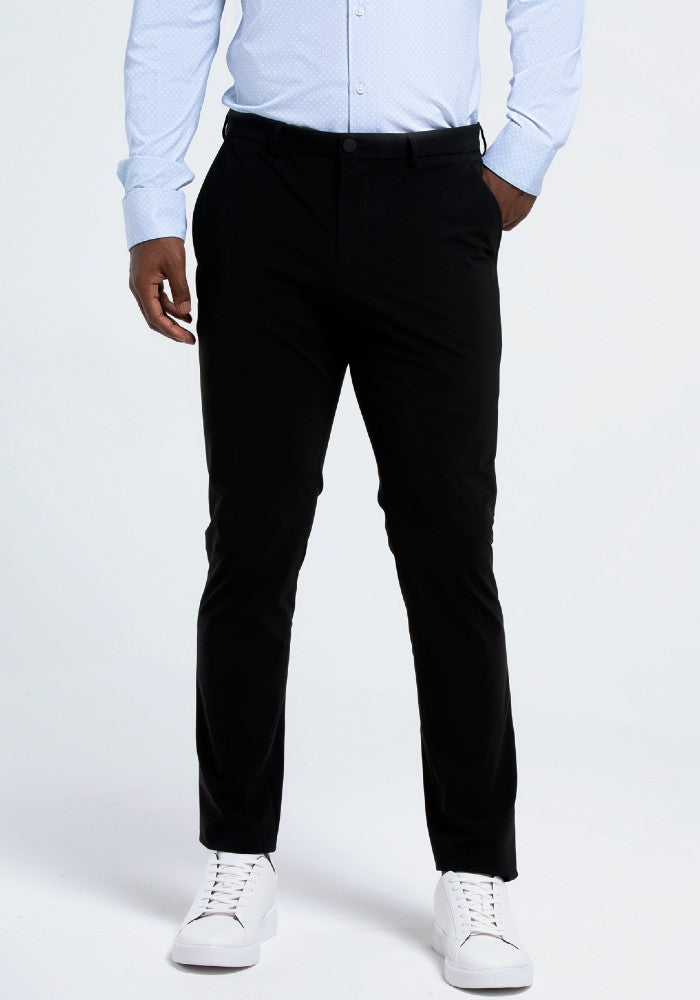 Front view of The Triton Pant State Of Matter color Black made with ECONYLu00ae regenerated nylon