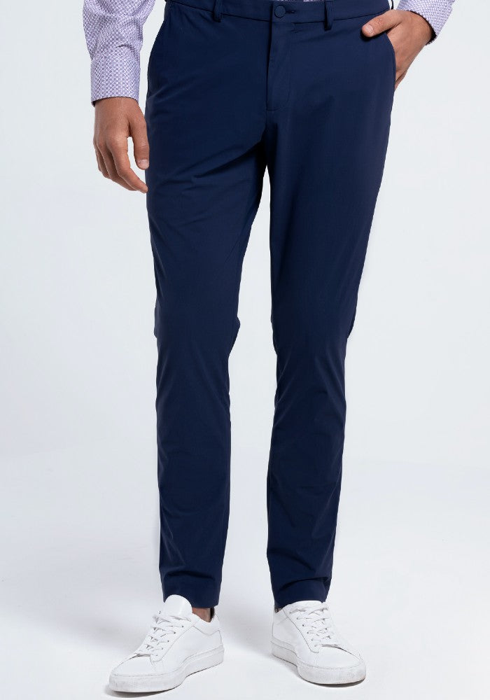 Front view of The Triton Pant State Of Matter color Blue made with ECONYLu00ae regenerated nylon