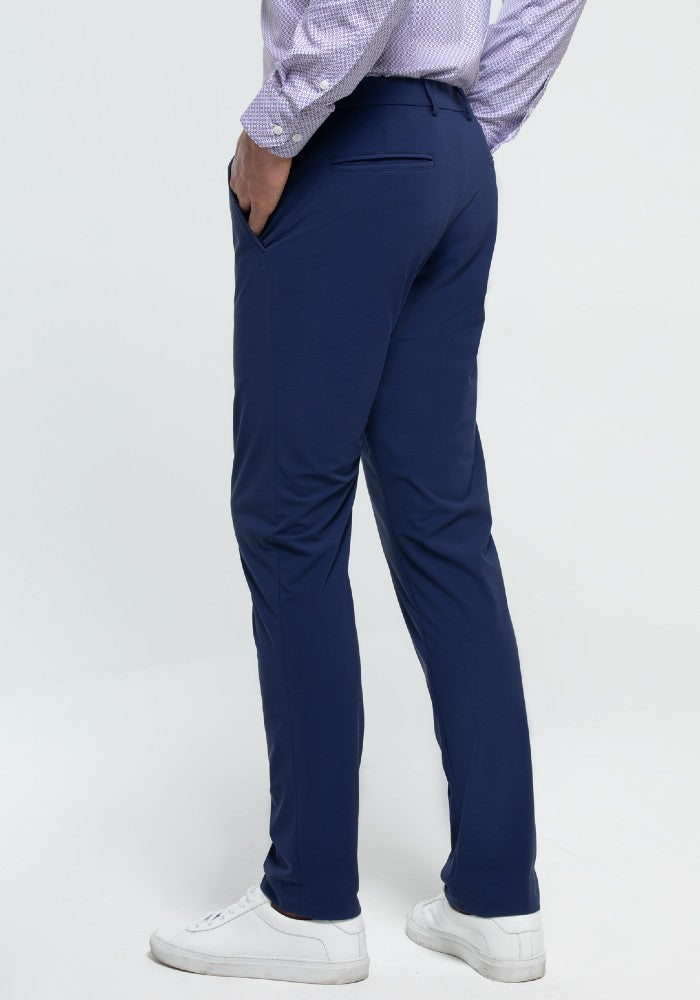 Side view of The Triton Pant State Of Matter color Blue made with ECONYLu00ae regenerated nylon
