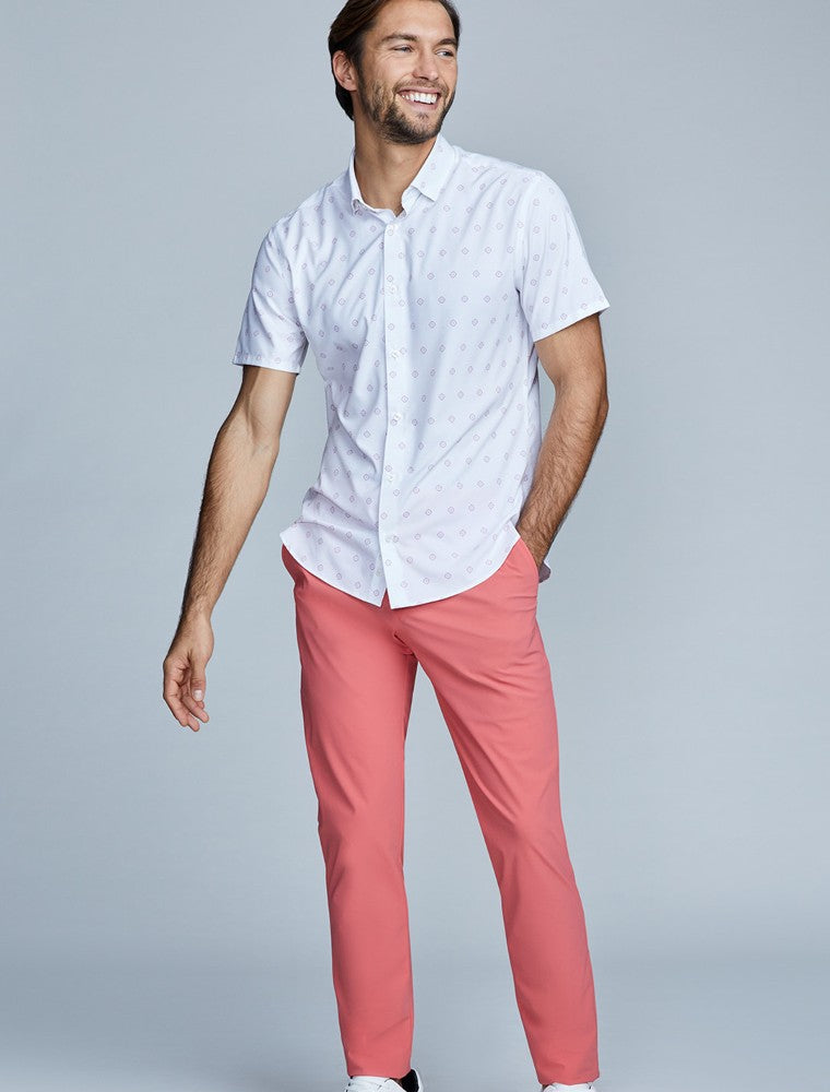 The Triton Pant State Of Matter color Canyon Rose made with ECONYLu00ae regenerated nylon lifestyle