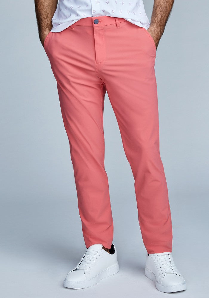 Front view of The Triton Pant State Of Matter color Canyon Rose made with ECONYLu00ae regenerated nylon