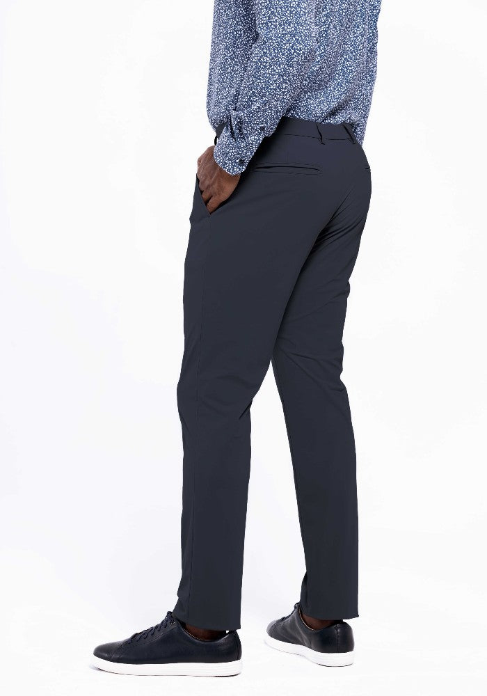 Side view of The Triton Pant State Of Matter color Charcoal made with ECONYLu00ae regenerated nylon