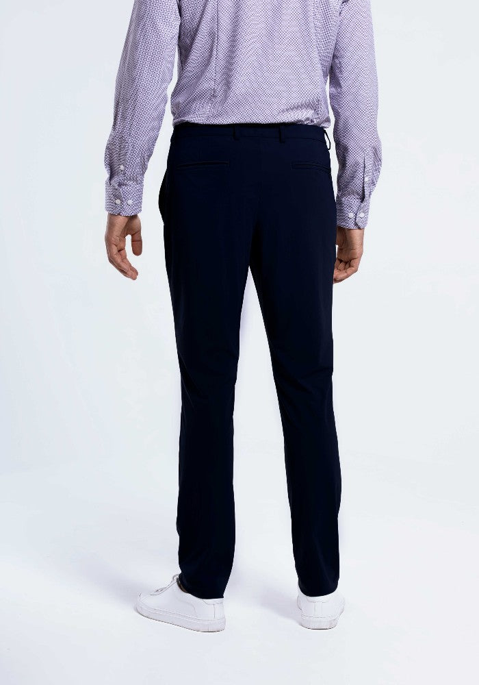 Back view of The Triton Pant State Of Matter color Deep Navy made with ECONYLu00ae regenerated nylon