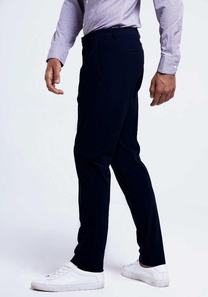 Side view of The Triton Pant State Of Matter color Deep Navy made with ECONYLu00ae regenerated nylon