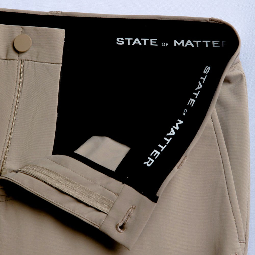 Detail of The Triton Pant State Of Matter color Sand made with ECONYLu00ae regenerated nylon