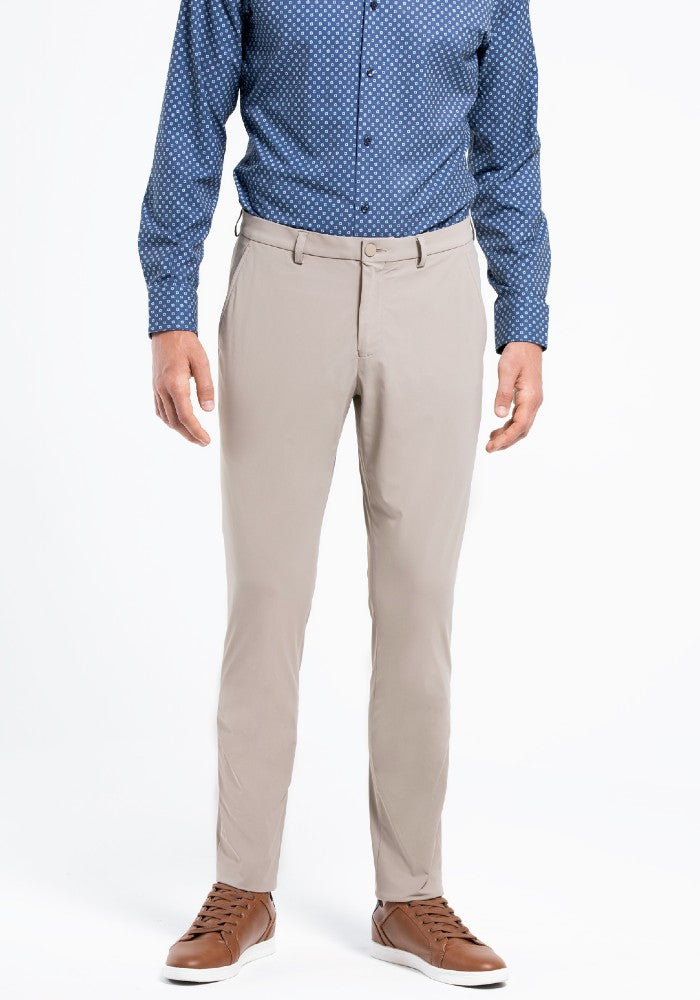 Front view of The Triton Pant State Of Matter color Sand made with ECONYLu00ae regenerated nylon