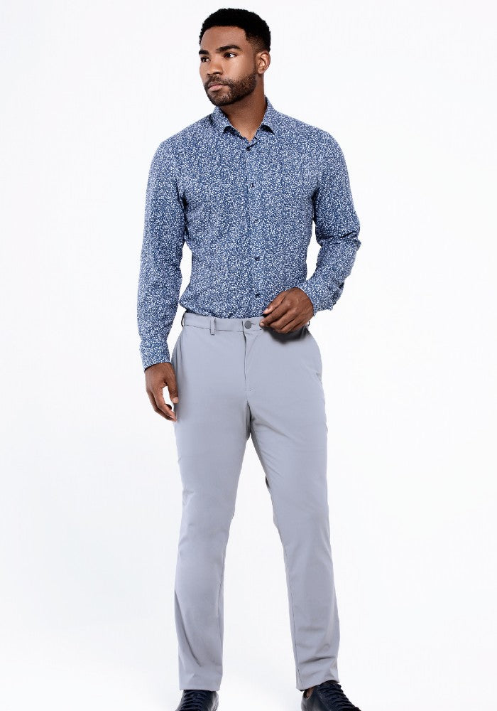 Front view of The Triton Pant State Of Matter color Silver made with ECONYLu00ae regenerated nylon