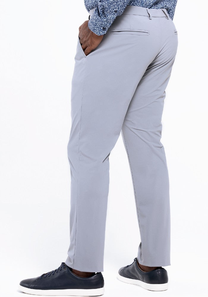 Side view of The Triton Pant State Of Matter color Silver made with ECONYLu00ae regenerated nylon