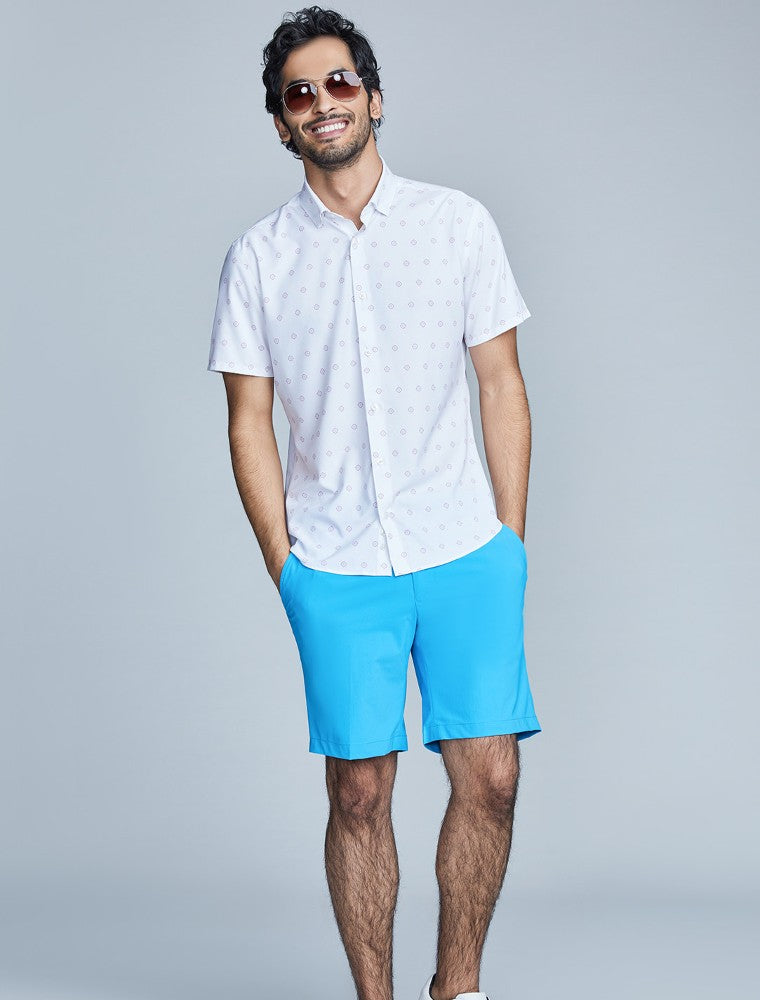 The Triton Short Pant State Of Matter color Aqua made with ECONYLu00ae regenerated nylon lifestyle