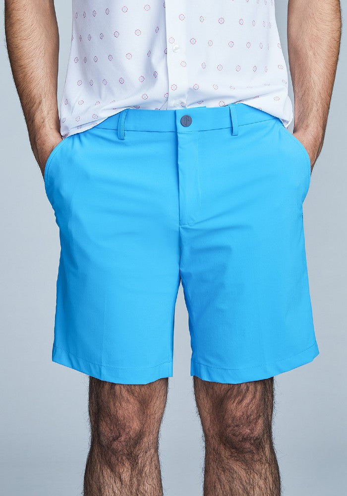 Front view of The Triton Short Pant State Of Matter color Aqua made with ECONYLu00ae regenerated nylon