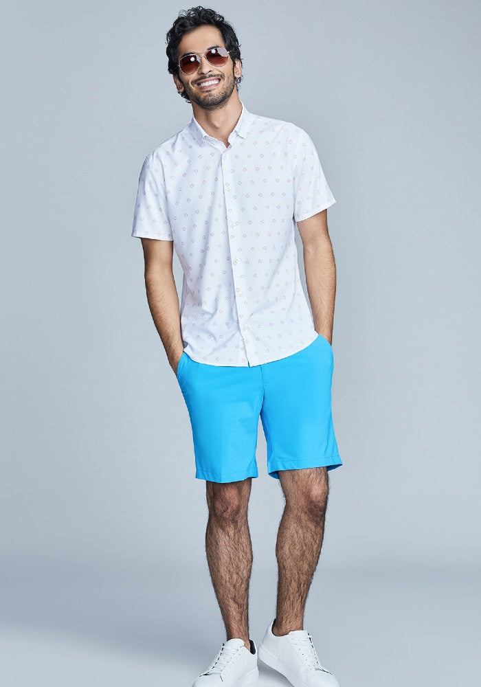 The Triton Short Pant State Of Matter color Aqua made with ECONYLu00ae regenerated nylon