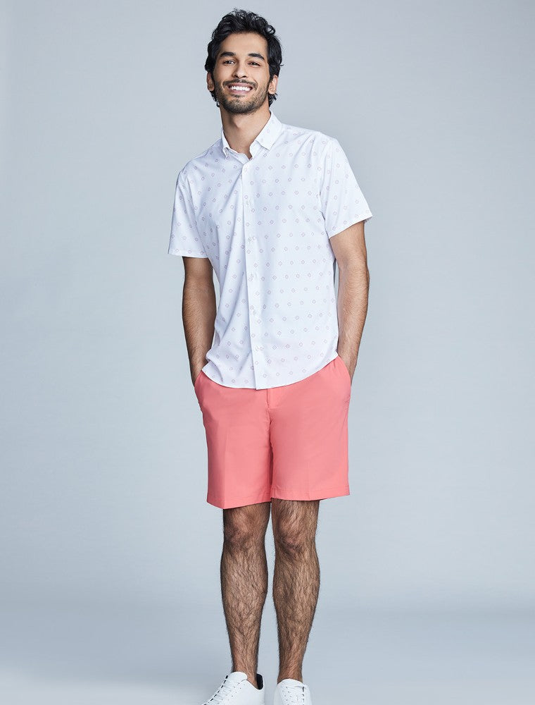 The Triton Short Pant State Of Matter color Canyon Rose made with ECONYLu00ae regenerated nylon lifestyle