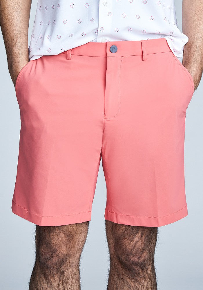 Front view of The Triton Short Pant State Of Matter color Canyon Rose made with ECONYLu00ae regenerated nylon