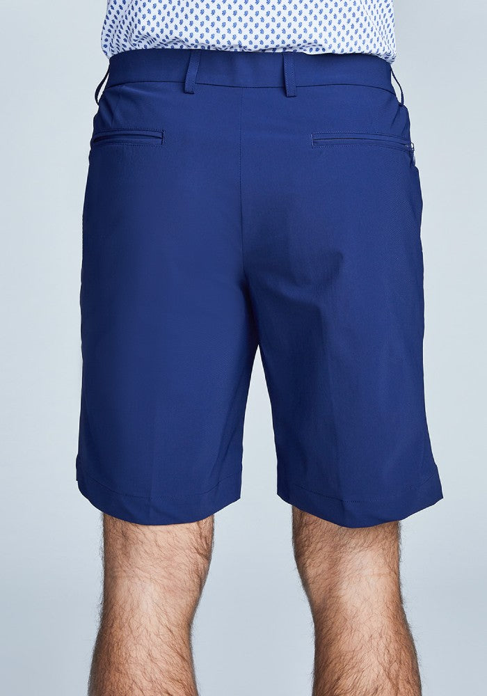 Back view of The Triton Short Pant State Of Matter color Deep Navy made with ECONYLu00ae regenerated nylon