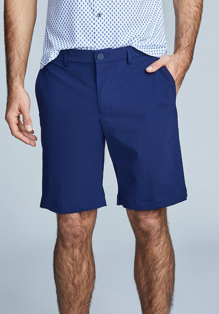 Front view of The Triton Short Pant State Of Matter color Deep Navy made with ECONYLu00ae regenerated nylon
