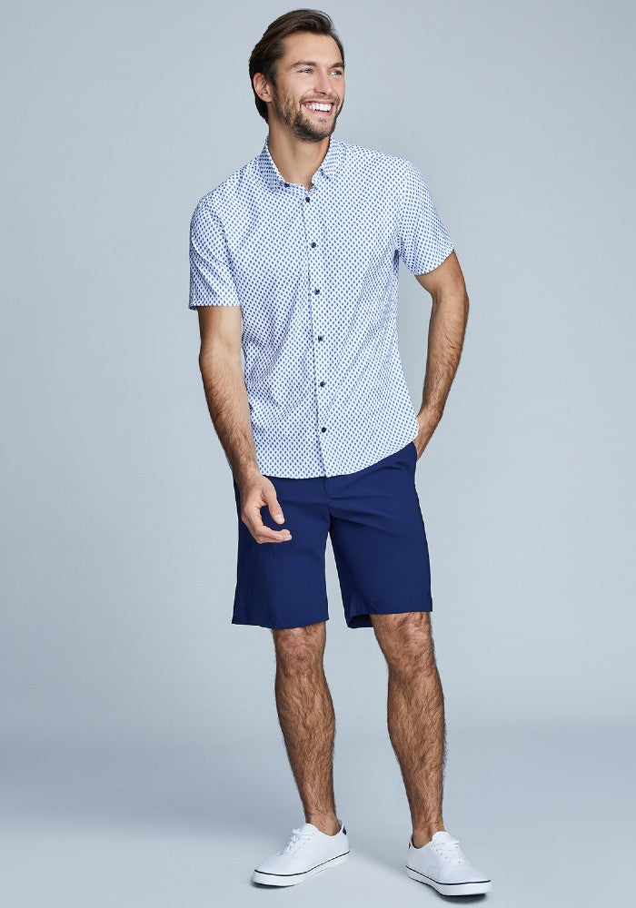 The Triton Short Pant State Of Matter color Deep Navy made with ECONYLu00ae regenerated nylon