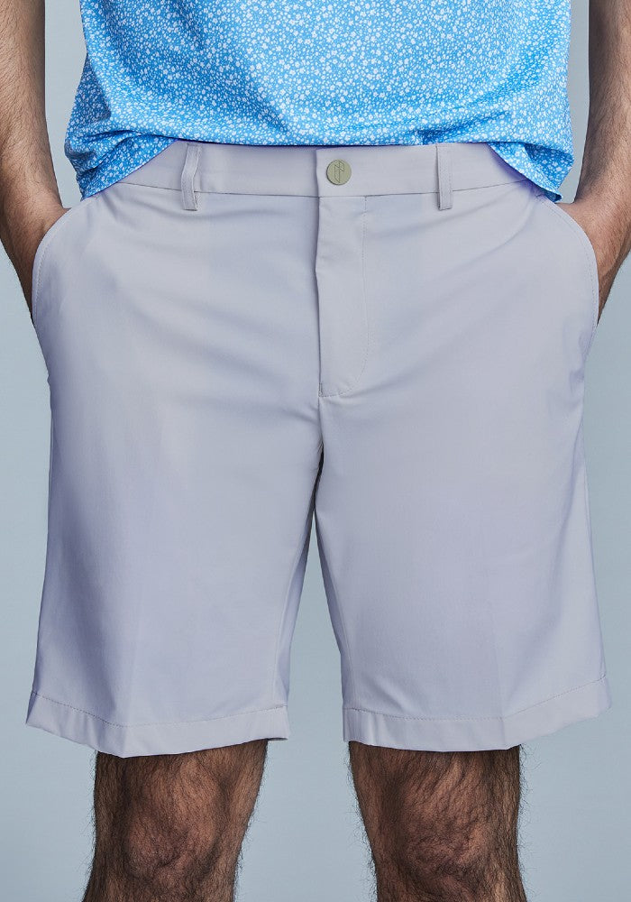 Front view of The Triton Short Pant State Of Matter color Silver made with ECONYLu00ae regenerated nylon