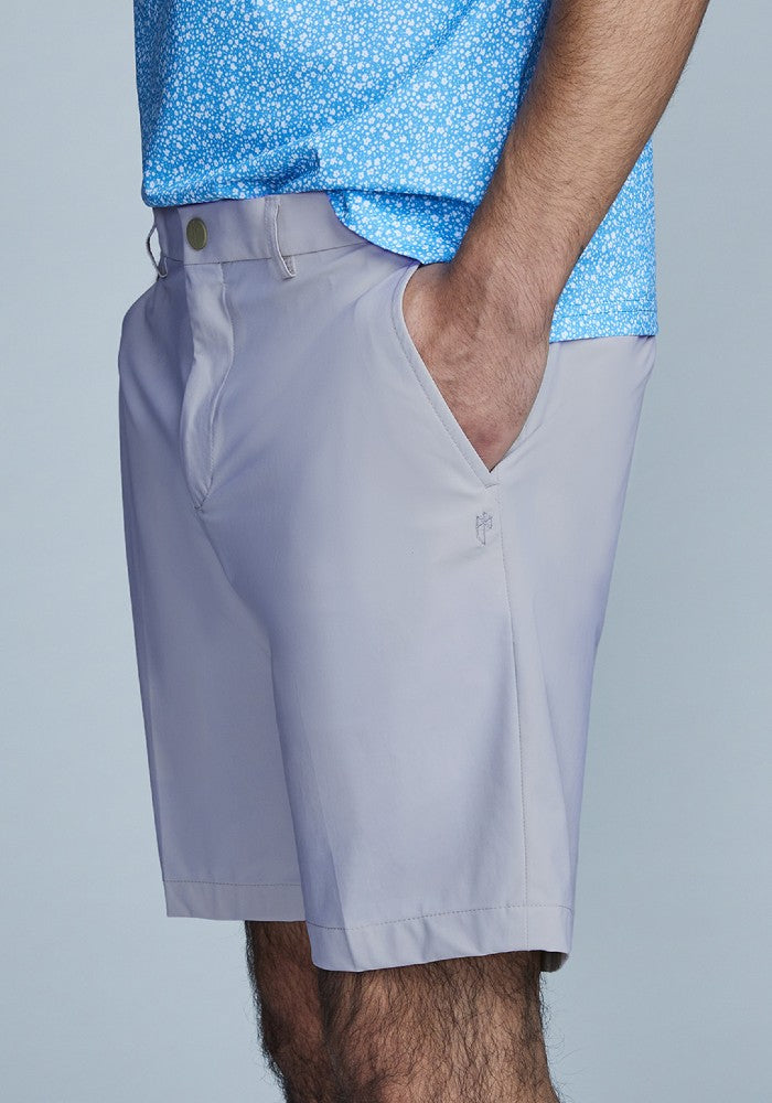 Side view of The Triton Short Pant State Of Matter color Silver made with ECONYLu00ae regenerated nylon