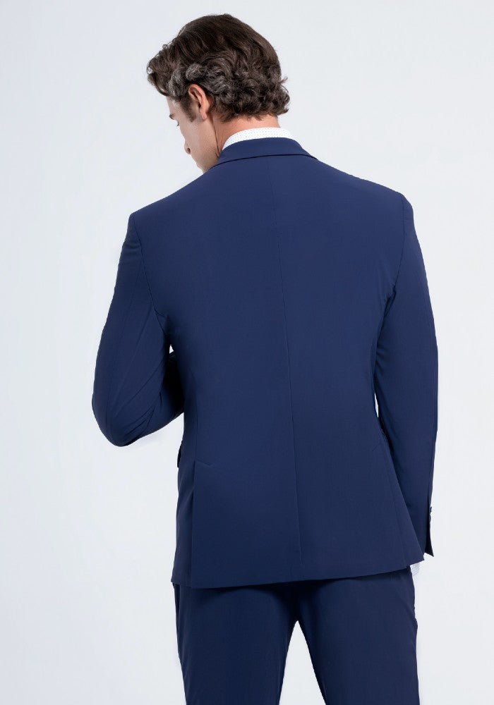 Back view of The Triton Suit Jacket State Of Matter color Blue made with ECONYLu00ae regenerated nylon