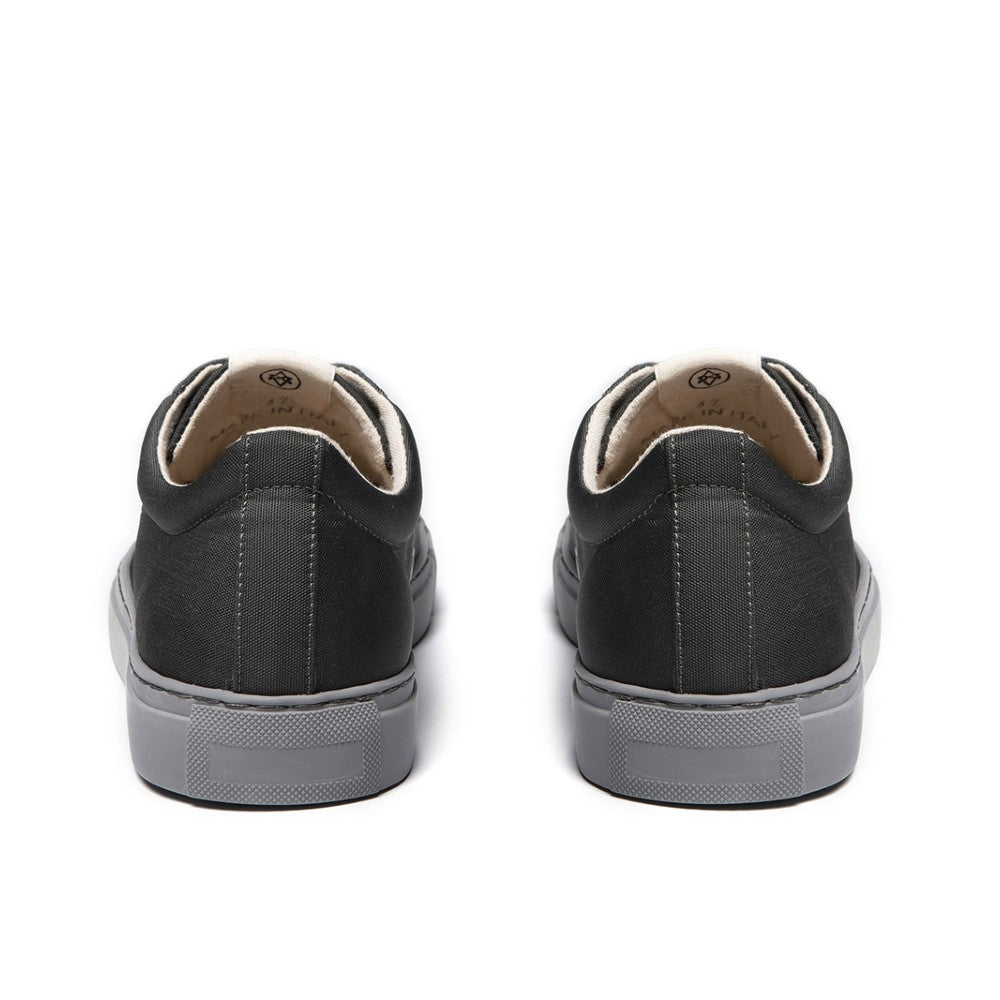 Back view of the WAO shoes Low Top Nylong color Graphite and Grey made with ECONYLu00ae regenerated nylon